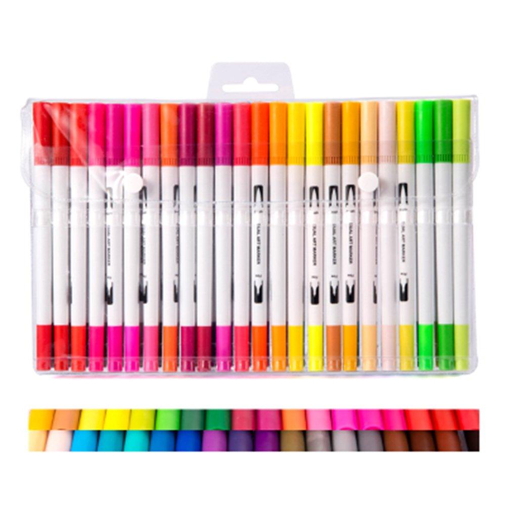 Amorar Wasserbasierte Tinte Farbmarkierungsstifte, Farbstifte mit Doppelkopf Wasser basierte farbige Stifte für Färbung, Kunst, Skizzieren,Manga, Bullet Journal,EINWEG Verpackung B07DHHRCK6 | Zuverlässiger Ruf