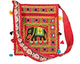 Tribe Azure Hobo Cross Body Elephant Messenger Shoulder Bag Mirror Embroidered Roomy Women Purse Tote Colorful Casual Everyday Hippie Boho (Scarlet)