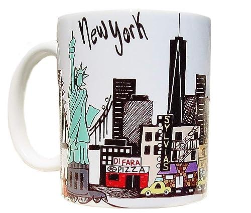 Amazon Com New York City Landmark Skyline Coffee Mug Long Distance Love Gift Yankee Stadium One World Trade Center Statue Of Liberty Handmade