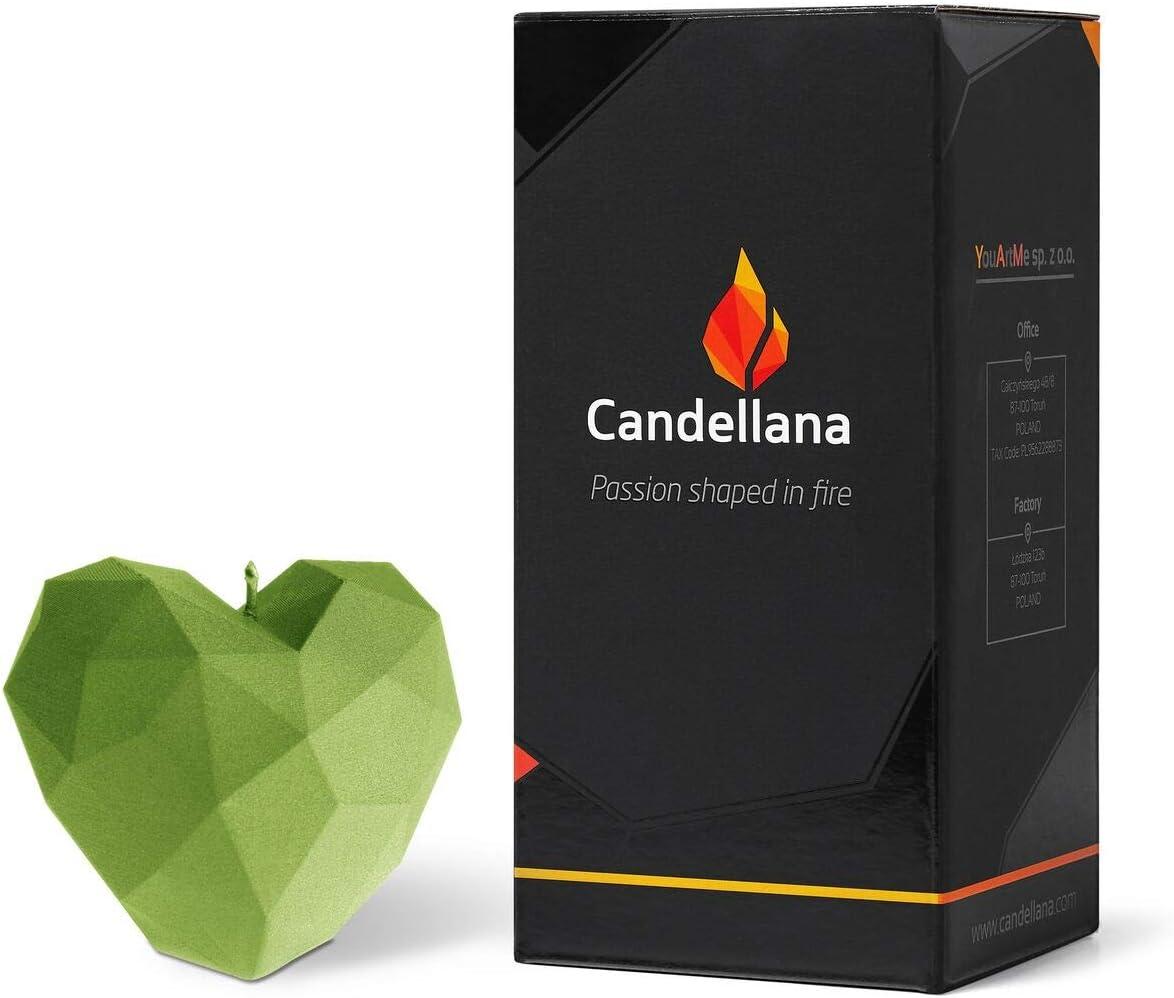 H/öhe Candellana Kerze Herz Low Poly 7,8 cm Handgemacht in der EU