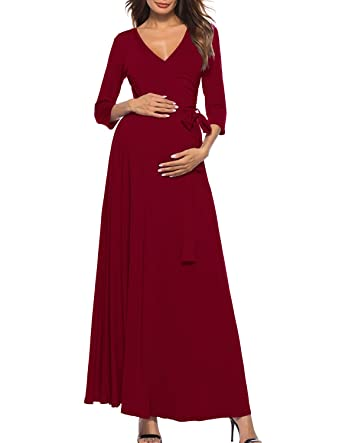 d30c1ab6ef7e2 PrettyLife Womens Maxi Maternity Nursing Dress 3/4 Sleeve Wraped Ruched  with Belt Baby Shower Gown at Amazon Women's Clothing store: