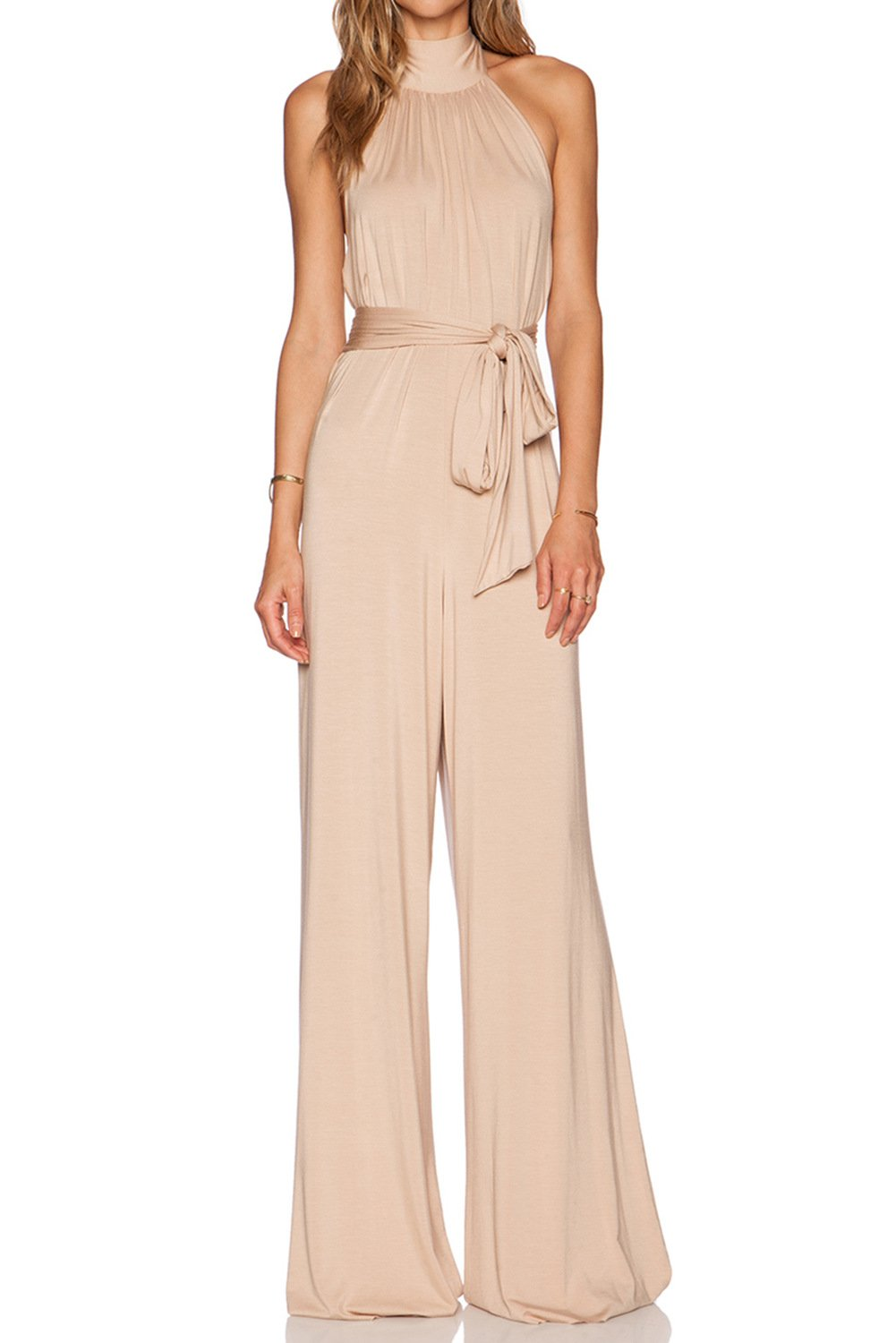 MARSEN Women's Halter Backless Rompers Long High Neck Party Jumpsuits with Belt Nude Size 6