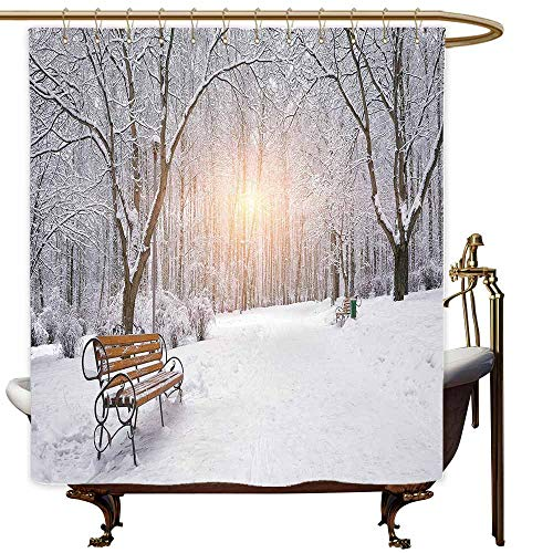 Bath Shower Curtain Winter Snow Covered Leafless Trees and Benches in The City Park Sunset Woodland Outdoors Shower Curtain bar W72x96L -