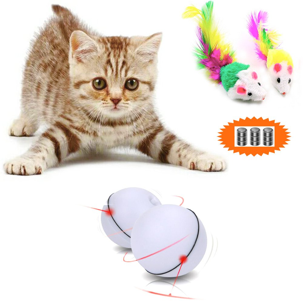 Malier Interactive Cat Toy Ball 360 Degree Automatic Rotation Ball Automatic Light Toy for Cat Dog Pet with 2 Free Furry Mice Toys (3 Packs Batteries Included)