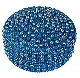 SKAVIJ Handmade Indian Jewelry Gift Box Turquoise Round Metal and Beaded Box for Jewelry -Diameter 4 Inch