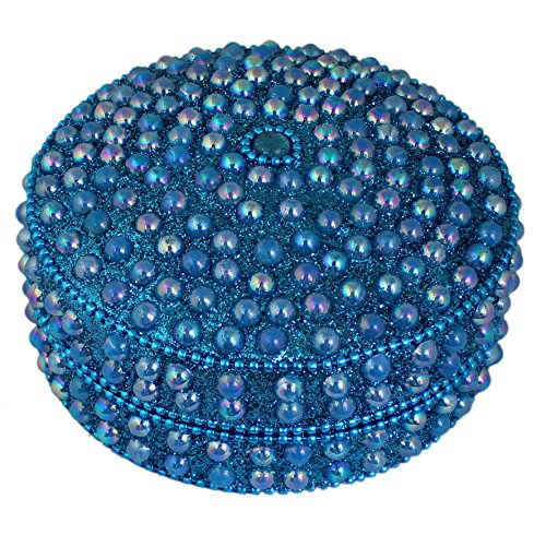 Indian Jewelry Gift Box Turquoise -Handmade Round Metal and Beaded Decorative Box for Jewelry -4x4x2