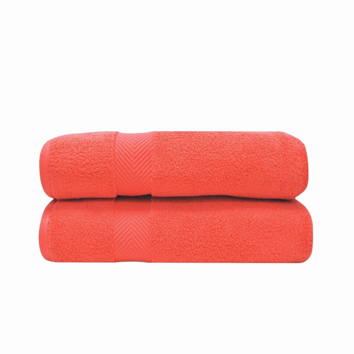 2ピースバスタオルセット、吸収性ゼロツイストコットン、10色 Bath Sheets オレンジ BNM ZT BSHEET CO B076X7WXJ9 コーラル Bath Sheets