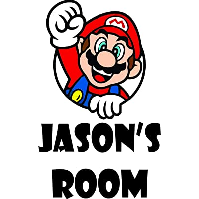 Boys Personalized Names Custom Name Super Mario Brothers and Luigi Yoshi Video Game Character Characters Decal Decals Stickers for Kids Bedroom/Boys Wall Vinyl Sticker Walls Room Rooms (20x15 inch): Home & Kitchen