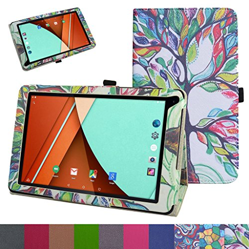 Fusion5 104A GPS Case,Mama Mouth PU Leather Folio Stand Cover for 10.1 Fusion5 104A GPS Android 5.1 Tablet PC,Love Tree