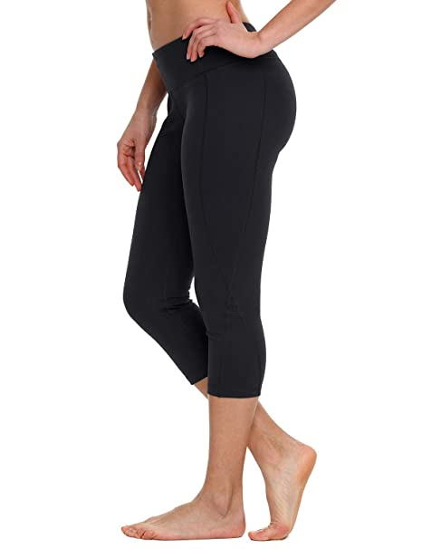 fe4d7a89fcc0f Baleaf Women's Yoga Capri Leggings Workout Running Pants Inner Pocket Black  XS