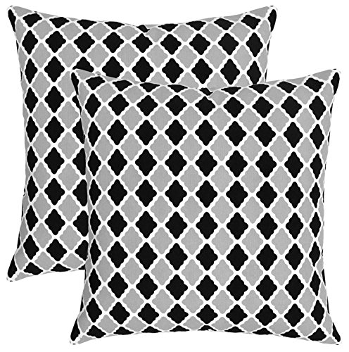 Isabella Beddings Morrocan Trellis Throw Pillow Case Cover 100% Cotton Cushion Covers Square Eco-Friendly Home Decor for Sofa Couch Bed Black Grey 20x20 inch 50cm x 50cm Pack of 2