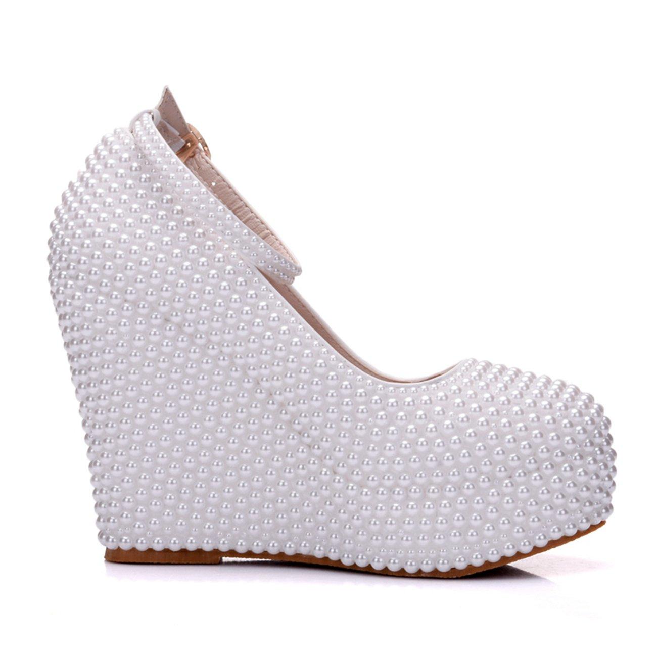 Minishion Womens Hidden High Heel Platform Pearl Beading Wedge Heel High Wedding Evening Shoes B075534J3P 8.5 B(M) US|White-10cm Heel 4f7f57