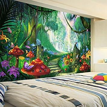 Benutzerdefinierte Wandbild Tapete 3D Cartoon Fee Wald Pilz Weg Wandmalerei  Kinder Kinder Schlafzimmer Umweltfreundliche Foto Tapeten, 200X140Cm