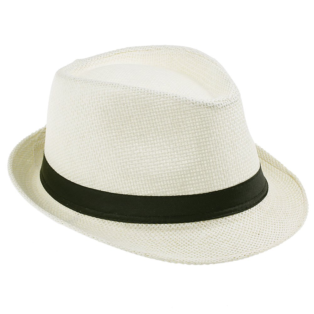 JTC Women Men Straw Fedora Trilby Gangster Hat Summer Beach Panama Jazz Cap---Cream