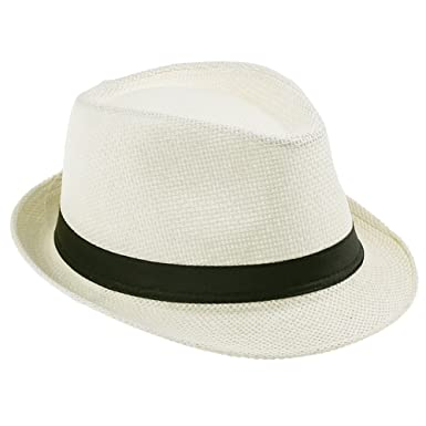 9d68b3978fe JTC Women Men Straw Fedora Trilby Gangster Hat Summer Beach Panama Jazz  Cap---Cream  Amazon.co.uk  Clothing