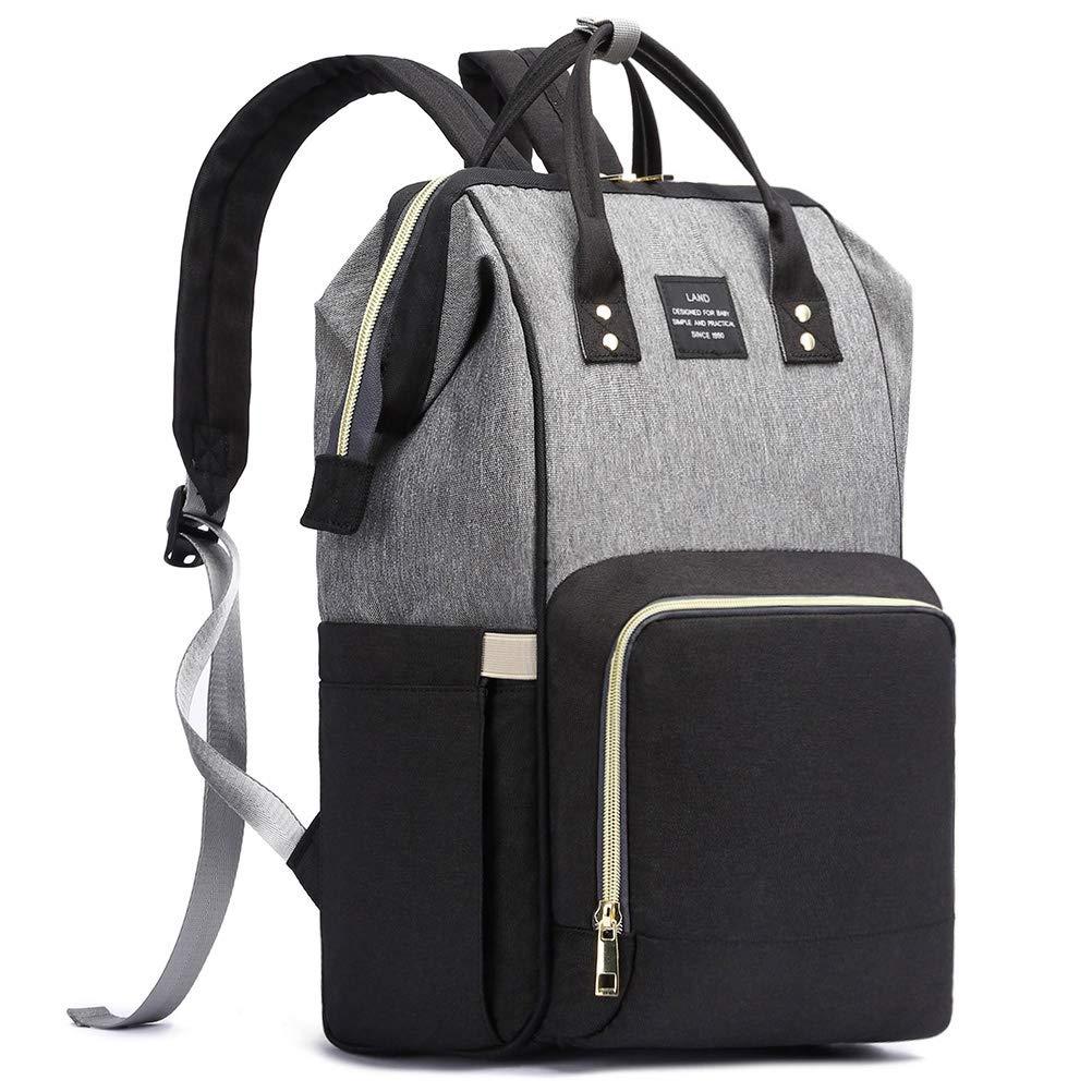 HaloVa Diaper Bag, Trendy Baby Nappy Backpack, Anti-Theft Travel Shoulders Bag, Large Maternity Infant Nursing Rucksack, with Insulated Milk Bottle Pockets and Wet Clothing Pocket, Black Gray