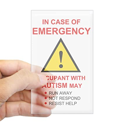 Cafepress autism emergency warning sticker for home rectangle bumper sticker car decal