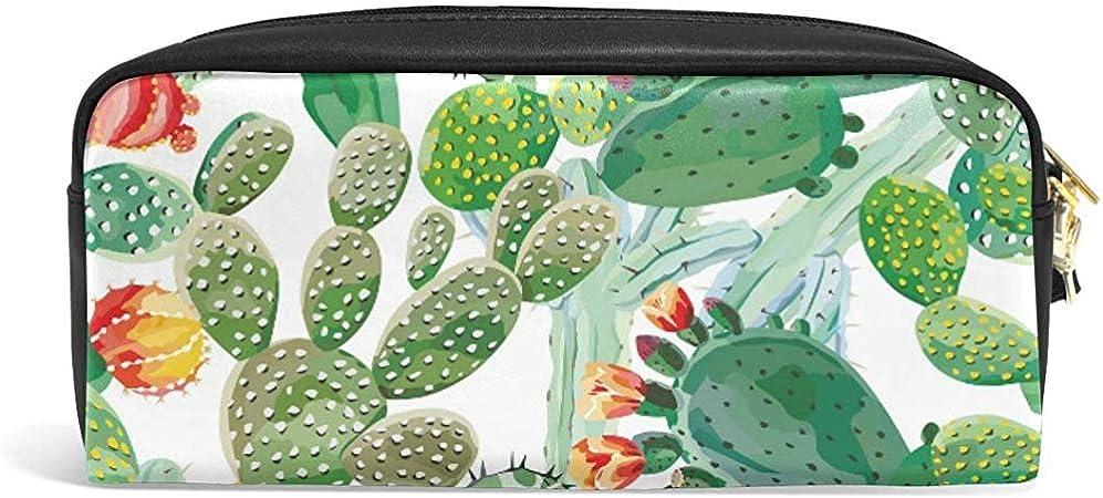 G.H.Y Lindo Estuche para lápices Patrón de Cactus Verde Imprimir Estuches para lápices Organizador Bolso de Maquillaje de Cuero de PU: Amazon.es: Hogar