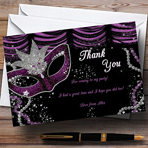 Masquerade Purple Personalized Birthday Party Thank You