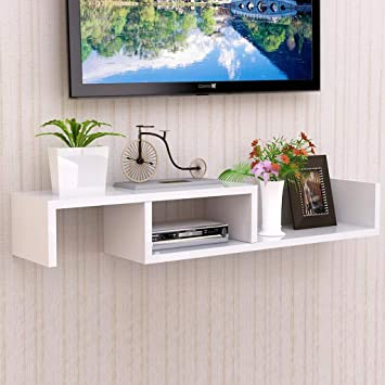 Estante de Pared Estante Flotante Mueble de TV montado en la Pared Caja Superior Enrutador Proyector Equipo de Juego Estante de Almacenamiento Soporte de TV (Color : Blanco): Amazon.es: Electrónica