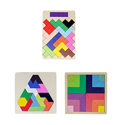 Tootpado Wooden Tetris Jigsaw Puzzle Non-Toxic Learning and Educational Toys for Kids (Pack of 3)