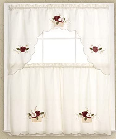 Amazon.com: 3 Piece Kitchen Window Curtains /Cafe Tier and Swag ...