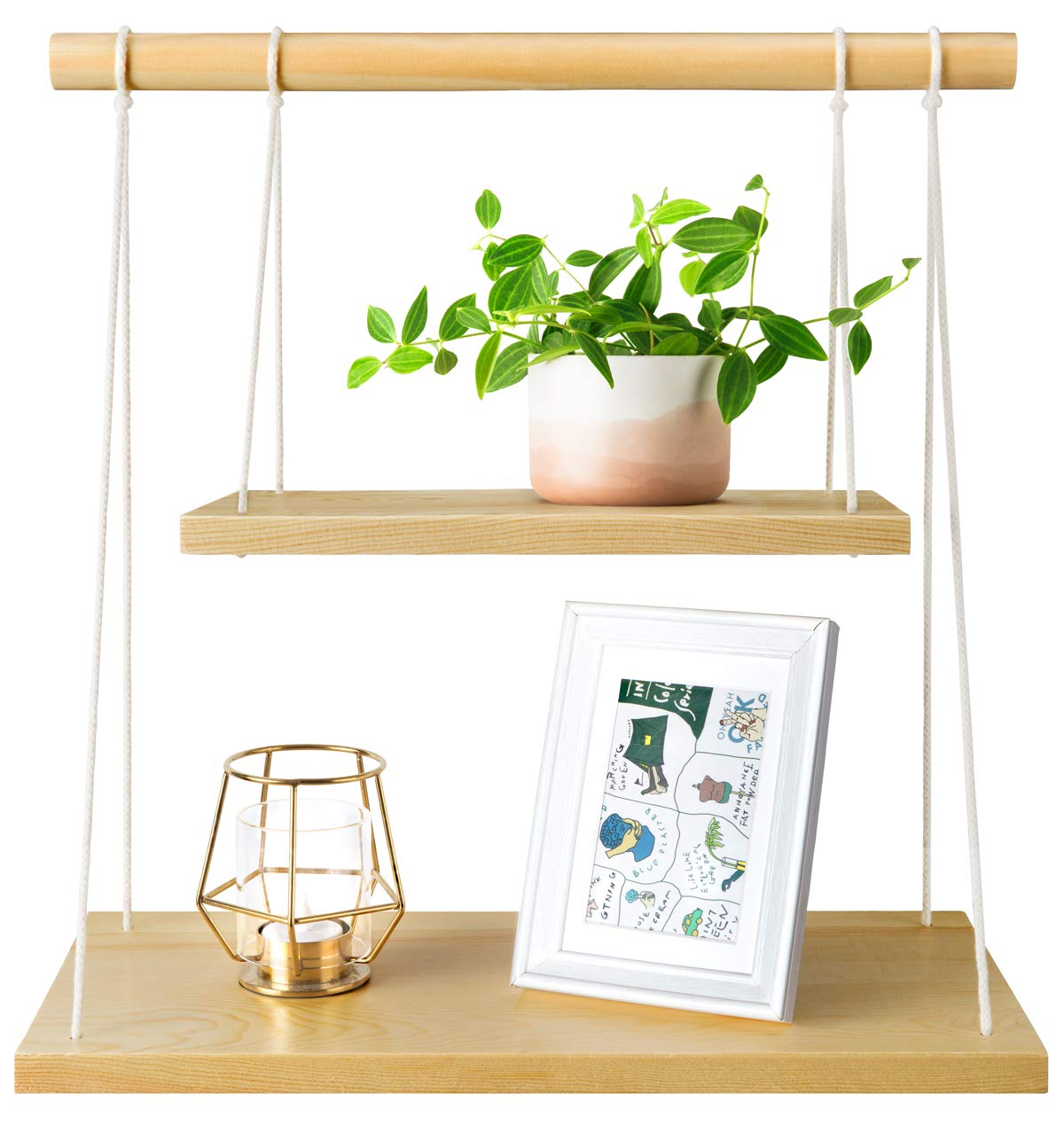 "Mkono Wall Hanging Shelf Wood Floating Shelves Storage Display Swing Rope Organizer - This wall hanging shelf can be installed in window or wall space and incorporated easily into any space, you can explore your imagination and decorate your home, office, studio or cafe in a fun and original way. Material: Pine and cotton rope. The wood stick is 7/8"" in thickness, strong and durable. The props in the picture are not included. Approximately 9"" between shelves, bring fun to display your favorite small plants, candles, photo frames, bathroom sundries or other decorative objects, transform any small or unused space into beautiful displays and conversation pieces. - wall-shelves, living-room-furniture, living-room - 615ZEukLnPL -"