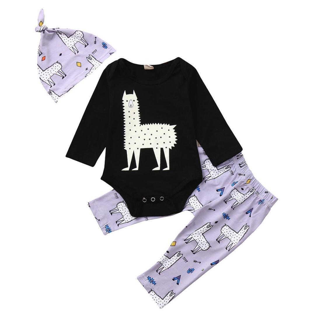 Jchen(TM) Hot Sales! Newborn Baby Boys Girls Long Sleeve Cartoon Print Tops+ Pants Cap Clothes Sets for 0-24 Months (Age: 18-24 Months)