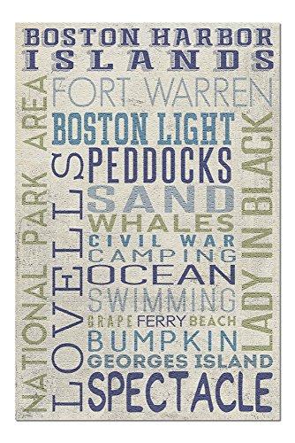 Boston Wall Usa (Boston Harbor Islands, Massachusetts - Typography (20x30 Premium 1000 Piece Jigsaw Puzzle, Made in USA!))