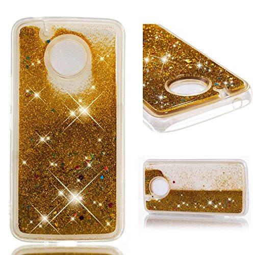 Moto E4 Case, DECVO Fashion Creative Floating Luxury Bling Glitter Sparkle Liquid Case Infused with Glitter Stars Moving Quicksand Case for Motorola Moto E4/Moto E (4th Generation) (Sun gold)