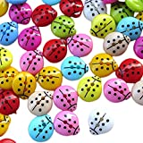 Outflower 100pcs Colorful Small Ladybug Buttons 2 Holes Resin Children's Buttons Cute Animal Decoration Buttons for Sewing/Scrapbooking/DIY Handmade - Random Colors 12.5mm