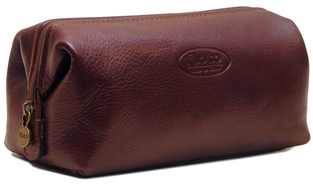 Floto Collection Dopp Kit in Brown Italian Calfskin Leather
