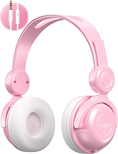 Kids Headphones, Vogek Wired On-Ear Child Headphone Headset with Mic, HD Sound Sharing Function and 85dB Volume Limited Hearing Protection for Phone Tablet PC Kindle Pink