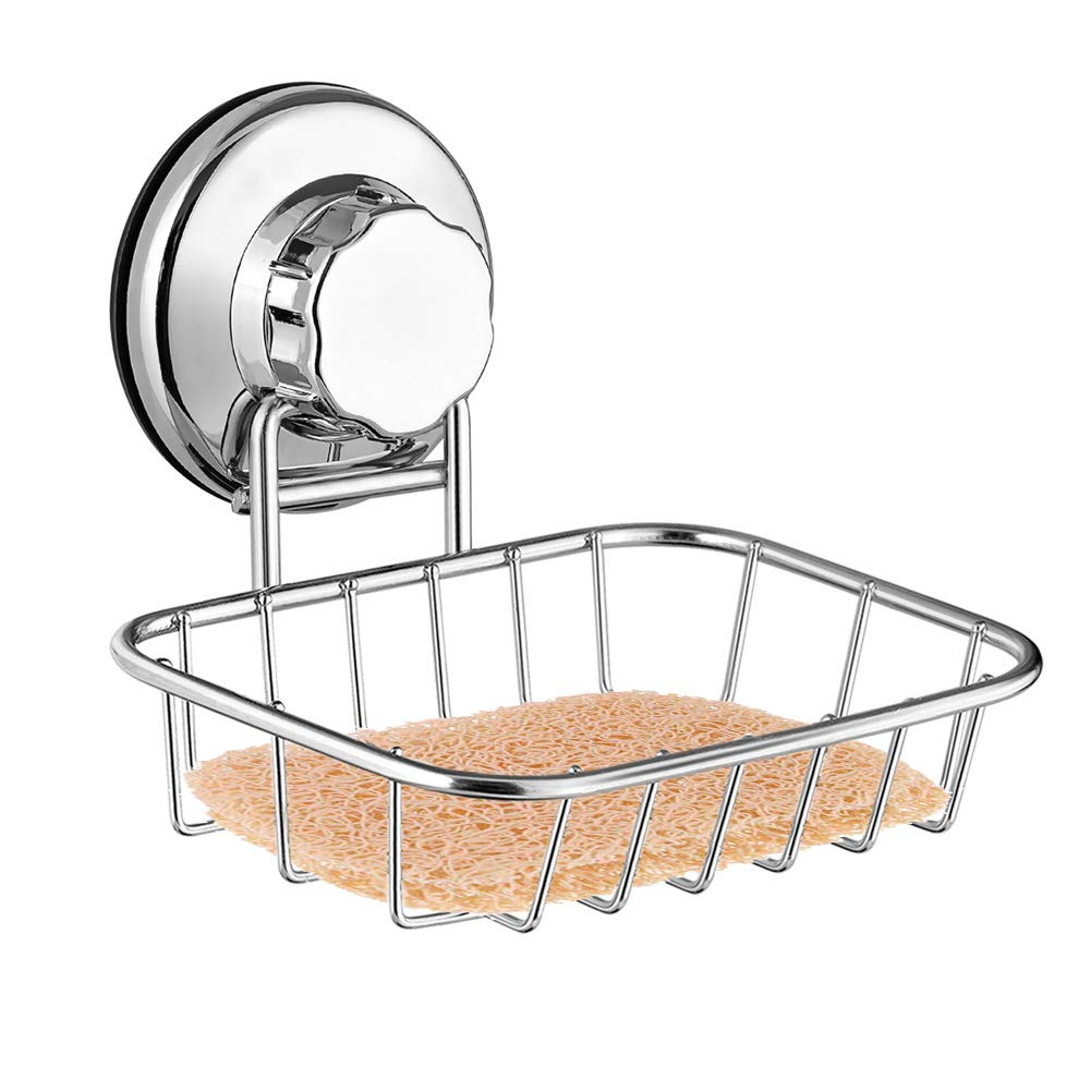 ARCCI Powerful Vacuum Suction Cup Soap Dish, Rustproof Durable Stainless Steel Soap Holder with Soap Saver Pad, Soap Sponge Holder for Shower, Bathroom & Kitchen Sink by ARCCI
