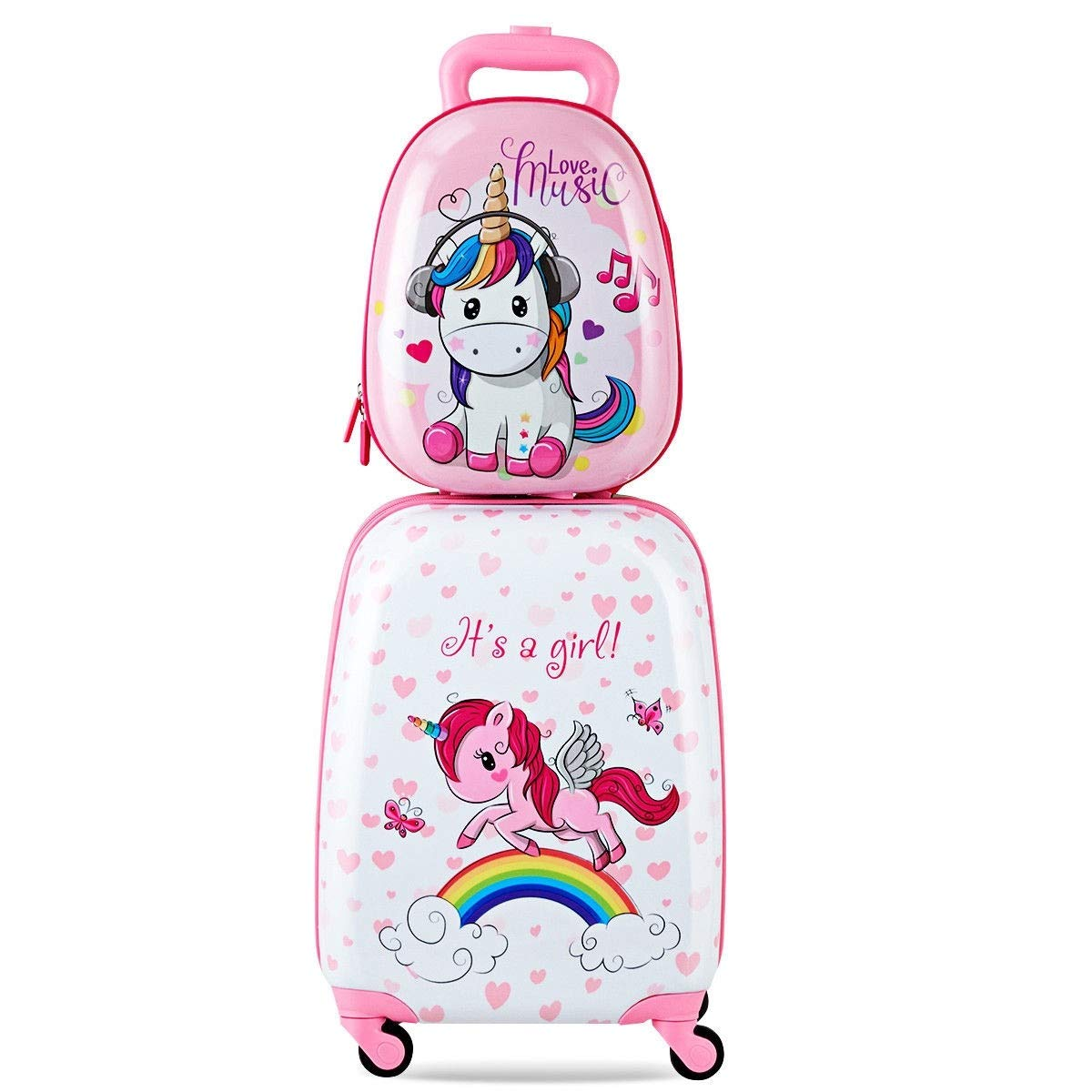 Custpromo 2 pcs ABS Kids Suitcase Lightweight Backpack Luggage Set 16'' Carry On Luggage with Spinner Wheels and 12'' Backpacks Set for 2, 3, 4 year olds (Unicorn)