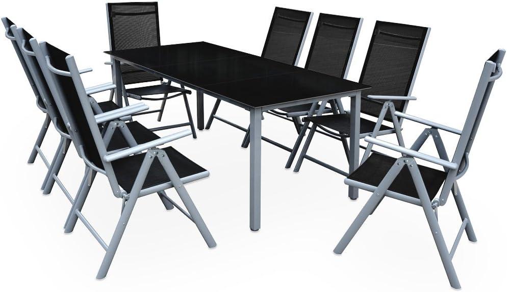 Deuba Conjunto de 1 Mesa y 8 sillas de Aluminio Bern con Respaldo reclinable Muebles de jardín Patio terraza balcón