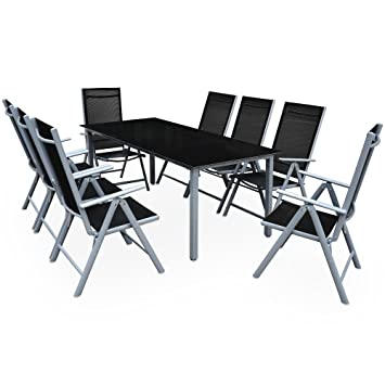 Deuba | Salon de Jardin 8+1 Bern • 1 Table, 8 chaises • Aluminium ...