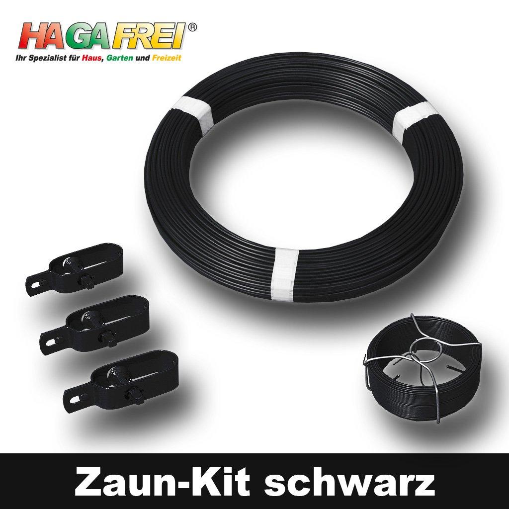 Zaun-Kit schwarz mit Ø 3,1mm Spanndraht für 25m Maschendrahtzaun mit ...