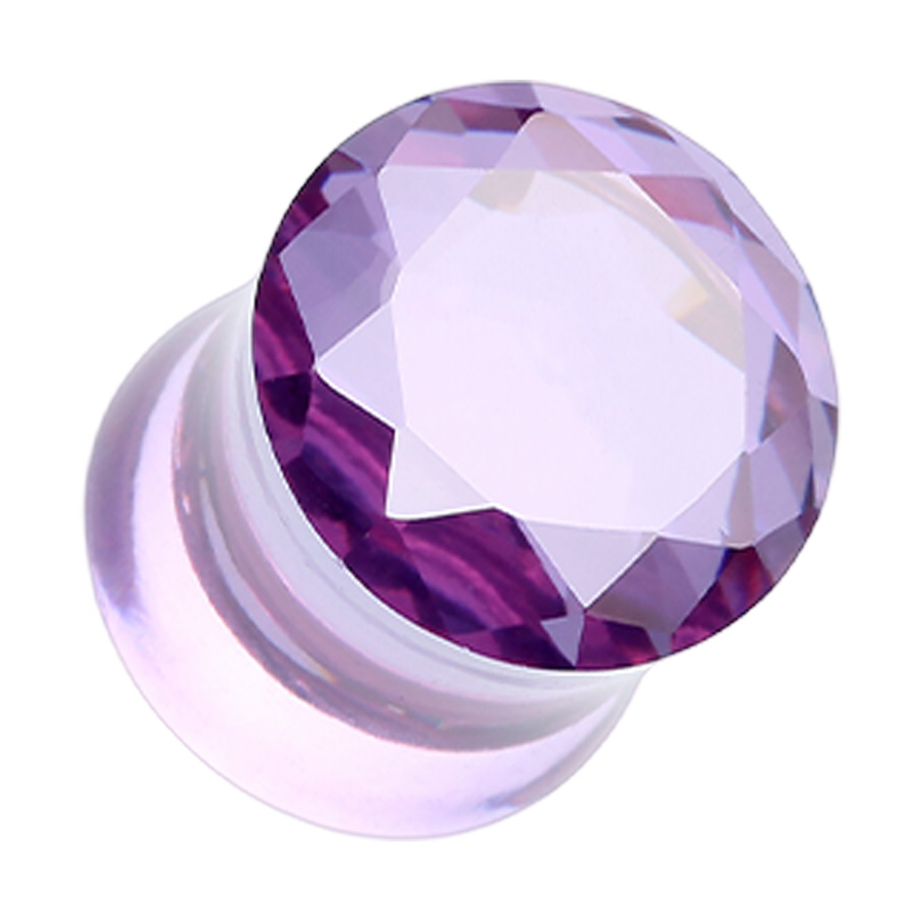 Purple Faceted Crystalline Glass-Gem Double Flared Ear Plug Sold as a Pair