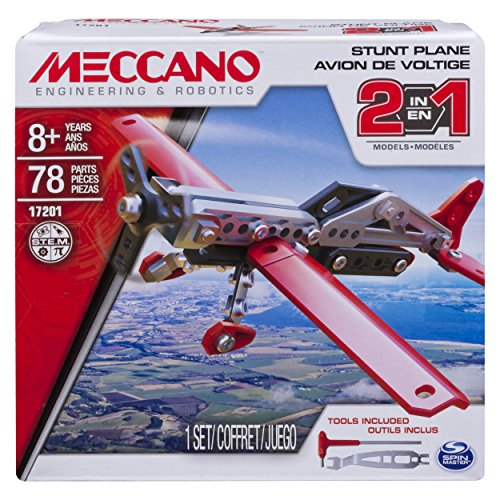 Erector by Meccano, 2-in-1 Stunt Plane Model Building Kit, 78 Pieces, For Ages 8 and up, STEM Constr