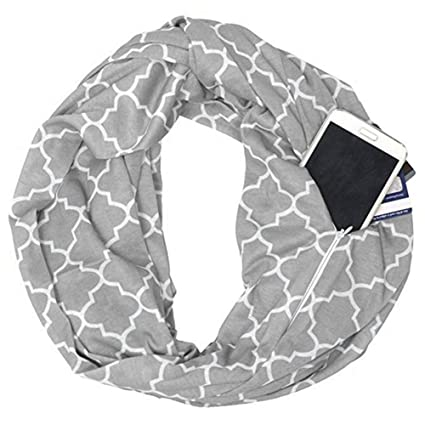 9f7124b86dd1e Image Unavailable. Image not available for. Color: Leegoal Infinity Scarf  Wrap with Secret Hidden Zipper Pocket ...