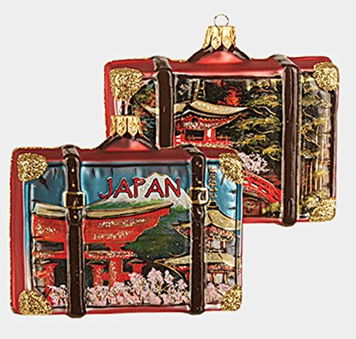 Japan Travel Suitcase Polish Blown Glass Christmas Ornament Tree Decoration (Christmas Japan Decorations)
