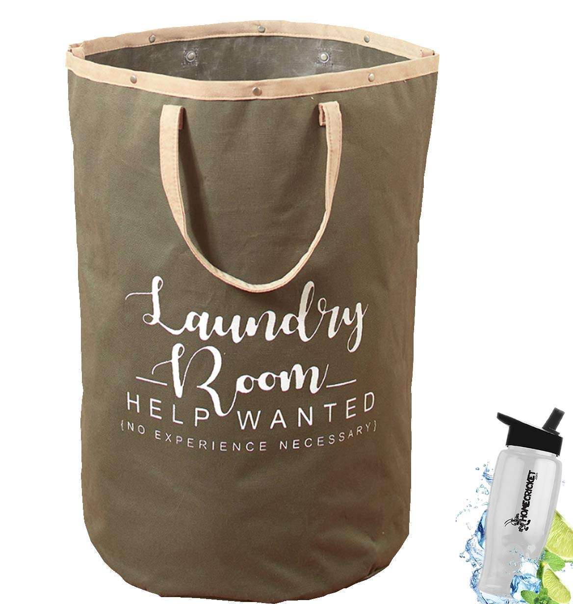 Gift Included- Jumbo Large Laundry Tote Bag With Handles For Laundry Room or Storage Sage + FREE Bonus Water Bottle by Home Cricket