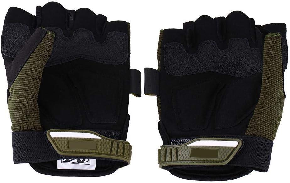 1 paio guanti mezze dita Guanti moto da corsa Guanti da ciclismo Guanti traspiranti protettivi Motorcross Outdoor Sports L-verde militare