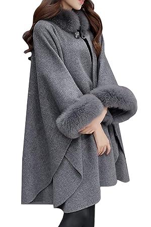 Oudan Poncho para Mujer Cabo Invierno Lana Elegante Prendas de Abrigo Piel sintética (Color : Gris, tamaño : 3XL): Amazon.es: Hogar