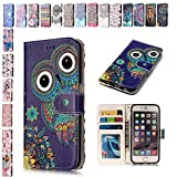E-Mandala Samsung Galaxy S6 Edge Case Owl PU Leather Flip Case Wallet Cover with card holder kickstand Shell Soft TPU Silicone Bumper Cover