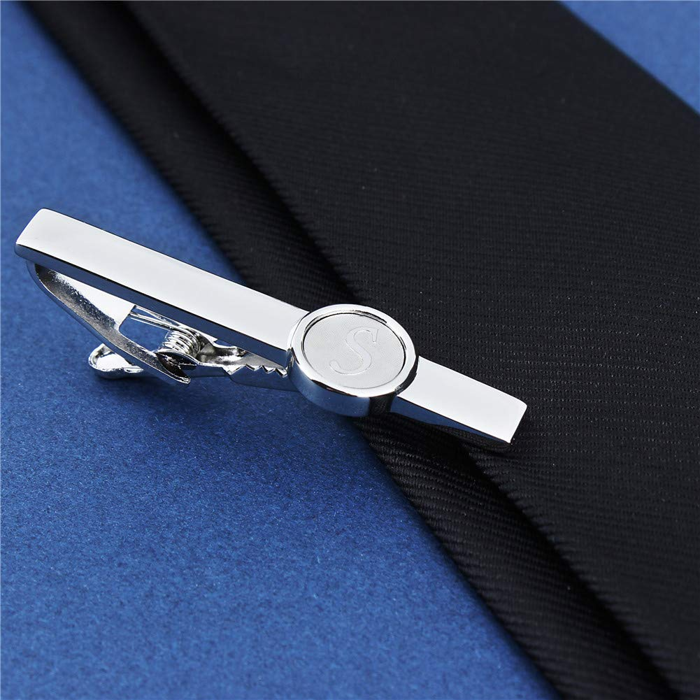 HAWSON Mens Classic Silver 2 Inch Tie Clips for Men Initials A-Z Formal Business Wedding Tuxedo Shirts