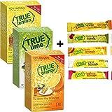 True Lemon, Lime, Orange & (32ct each) plus FREE sample packs of True Lemon Original Lemonade, Mango Orange, Peach Lemonade, Black Cherry Limeade, and Raspberry Lemonade
