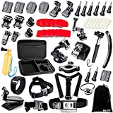 BAXIA TECHNOLOGY 38-in-1 Accessories Bundle Kit for GoPro HERO 5 Session 4 3+ 3 2 1 Black Silver SJ4000/5000/6000, Sports Camera Accessories for Xiaomi Yi/ AKASO/ WiMiUS/ Lightdow/ DBPOWER/ APEMAN/ Aokon/ ANART