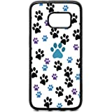 Samsung S7 Case, Customized Black Blue Purple Dog Paw Prints Black Soft Rubber TPU Bumper Case, Galaxy S7 Pet Dog Lover Case